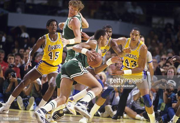 NBA Finals Boston Celtics Dennis Johnson in action vs Los Angeles Lakers Magic Johnson and Mychal Thompson Game 6 Inglewood CA 6/14/1987 CREDIT...