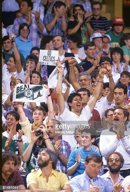 Basketball NBA Finals Boston Celtics fans in stands with BEAT LA sign during Game 3 vs Los Angeles Lakers Boston MA 6/7/1987 CREDIT Manny Millan