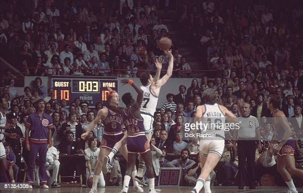 Basketball NBA Finals Boston Celtics John Havlicek in action taking last second shot during second overtime vs Phoenix Suns Game 5 Boston MA 6/4/1976