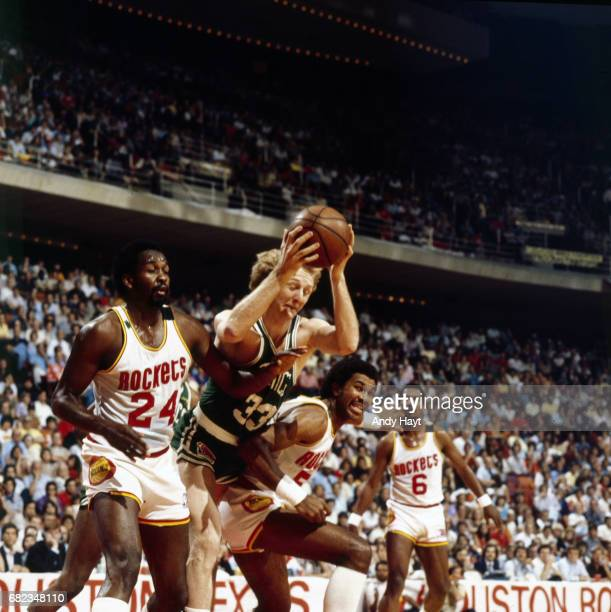 NBA Finals Boston Celtics Larry BIrd in action vs Houston Rockets Moses Malone and Robert Reid at The Summit Game 3 Houston TX CREDIT Andy Hayt