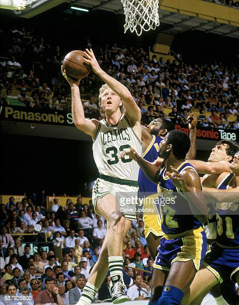 NBA Finals Boston Celtics Larry Bird in action vs Los Angeles Lakers at Boston Garden Boston MA CREDIT Steve Lipofsky