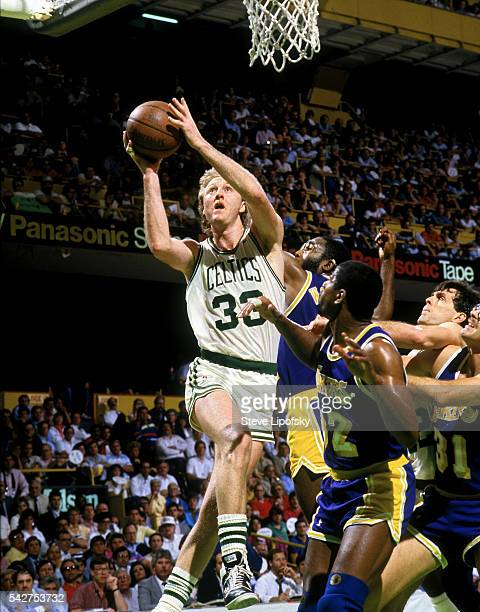 NBA Finals Boston Celtics Larry Bird in action vs Los Angeles Lakers at Boston Garden Boston MA CREDIT Steve Lipofsky
