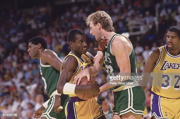 Basketball NBA Finals Boston Celtics Larry Bird in action vs Los Angeles Lakers Michael Cooper Inglewood CA 6/2/19876/14/1987