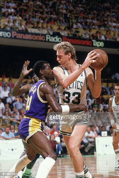 Basketball NBA Finals Boston Celtics Larry Bird in action vs Los Angeles Lakers Michael Cooper Game 3 Boston MA 6/7/1987 CREDIT Manny Millan
