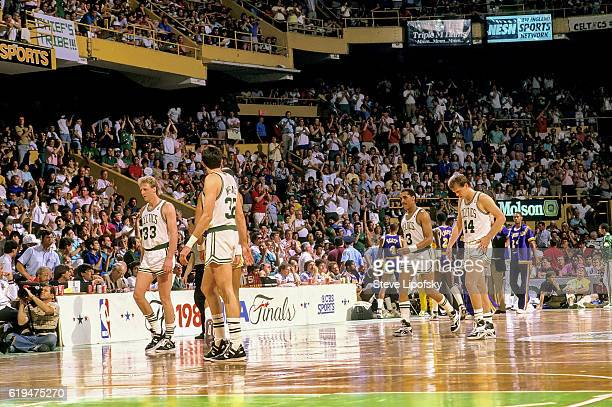 NBA Finals Boston Celtics Larry Bird Kevin McHale Dennis Johnson and Danny Ainge during game vs Los Angeles Lakers at Boston Garden Game 4 Boston MA...