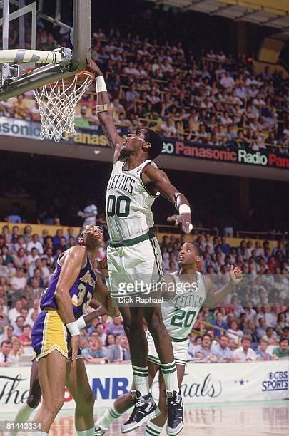 Basketball NBA Finals Boston Celtics Robert Parish in action making dunk vs Los Angeles Lakers Boston MA 6/1/1987