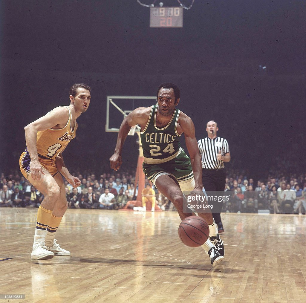 Boston Celtics Sam Jones In Action Vs Los Angeles Lakers