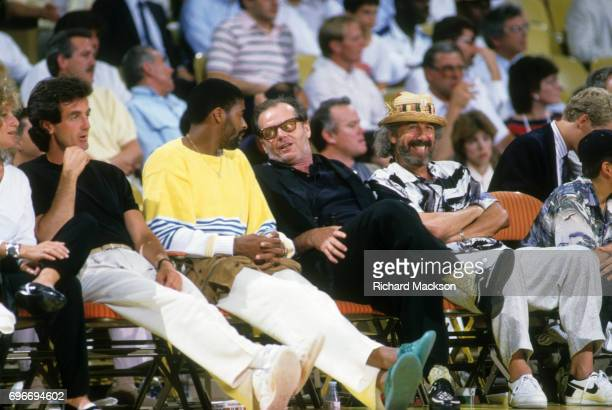 NBA Finals Celebrity actor Jack Nicholson speaks to Los Angeles Lakers Norm Nixon vs Boston Celtics before Game 2 at The Forum Inglewood CA CREDIT...