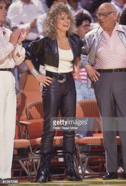 Basketball NBA Finals Celebrity actress Dyan Cannon on sidelines during Boston Celtics vs Los Angeles Lakers game Inglewood CA 6/2/19876/14/1987