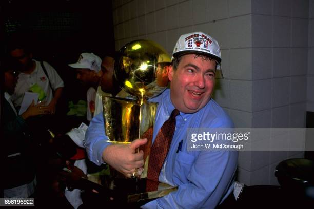 NBA Finals Chicago Bulls General Manager Jerry Krause victorious with Larry O'Brien Trophy after winning third championship at America West Arena...