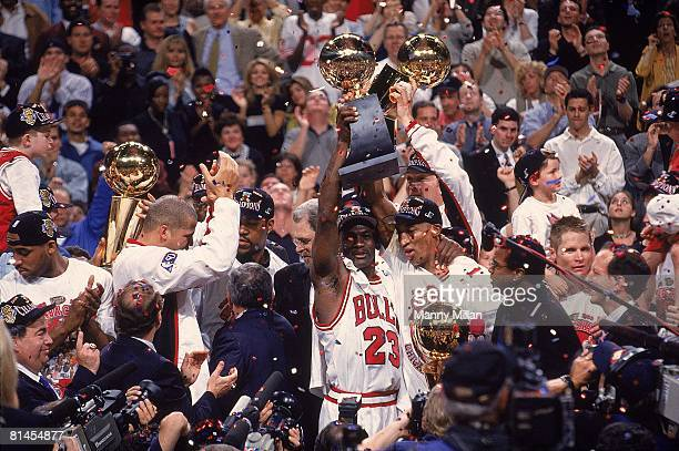 Basketball NBA Finals Chicago Bulls Michael Jordan and Scottie Pippen victorious after winning Game 6 and championship vs Utah Jazz View of media...