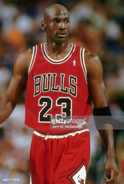 NBA Finals Chicago Bulls Michael Jordan during game vs Phoenix Suns at America West Arena Game 1 Phoenix AZ CREDIT John W McDonough