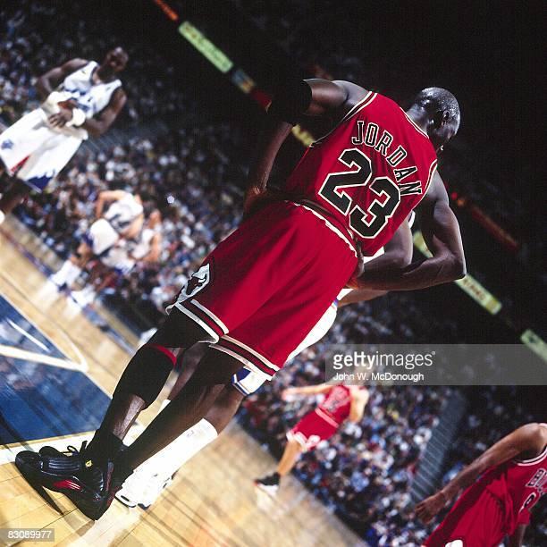 NBA Finals Chicago Bulls Michael Jordan during game vs Utah Jazz Game 6 Salt Lake City UT 6/14/1998 CREDIT John W McDonough