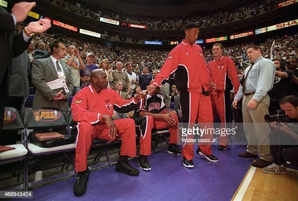 NBA Finals Chicago Bulls Michael Jordan fist bump with Scottie Pippen during player introductions before Game 6 vs Utah Jazz at Delta Center Salt...