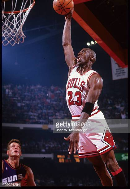 NBA Finals Chicago Bulls Michael Jordan in action dunking vs Phoenix Suns at Chicago Stadium Game 5 Chicago IL CREDIT John W McDonough