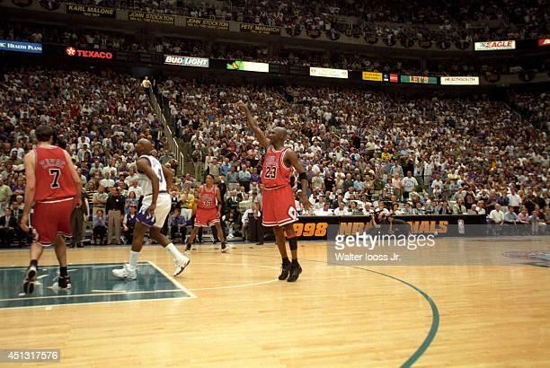 NBA Finals Chicago Bulls Michael Jordan in action making game winning shot vs Utah Jazz at Delta Center Game 6 Salt Lake City UT CREDIT Walter Iooss...