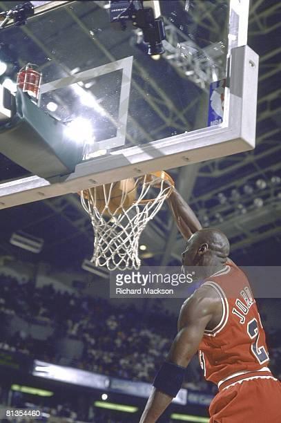 Basketball: NBA finals, Chicago Bulls Michael Jordan in action, making dunk vs Seattle SuperSonics, Seattle, WA 6/12/1996
