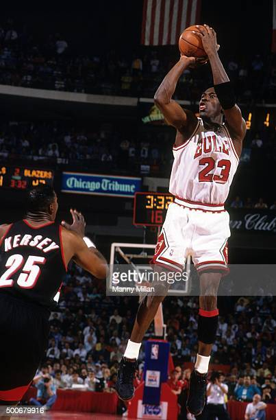 NBA Finals Chicago Bulls Michael Jordan in action shot vs Portland Trail Blazers at Chicago Stadium Game 1 Chicago IL CREDIT Manny Millan