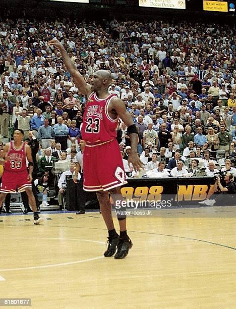 Basketball: NBA finals, Chicago Bulls Michael Jordan in action, taking game winning shot vs Utah Jazz, Salt Lake City, UT 6/14/1998