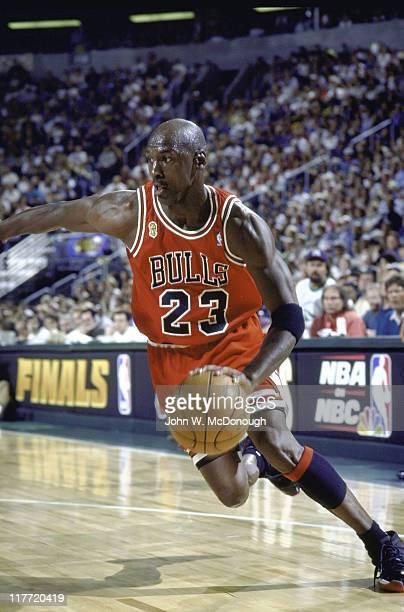 NBA Finals Chicago Bulls Michael Jordan in action vs Seattle SuperSonics at KeyArena Game 3 Seattle WA CREDIT John W McDonough
