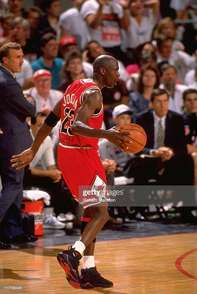 450db535ee9 Chicago Bulls Michael Jordan, 1992 NBA Finals. Basketball: NBA Finals.  Chicago Bulls Michael Jordan (23) in action vs Portland Trail Blazers at  Memorial ...