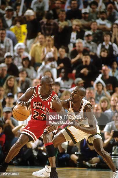NBA Finals Chicago Bulls Michael Jordan in action vs Seattle SuperSonics at Key Arena Game 3 Seattle WA CREDIT Richard Mackson