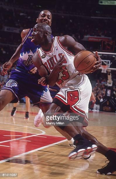 Basketball NBA Finals Chicago Bulls Michael Jordan in action vs Utah Jazz Game 5 Chicago IL 6/12/1998