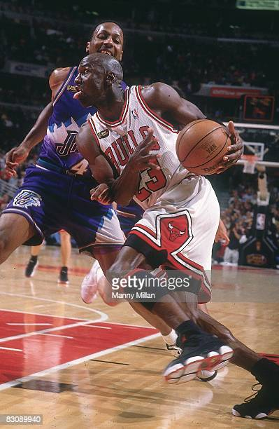 NBA Finals Chicago Bulls Michael Jordan in action vs Utah Jazz Game 5 Chicago IL 6/12/1998 CREDIT Manny Millan