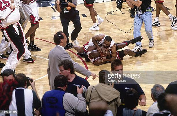 NBA Finals Chicago Bulls Michael Jordan victorious after winning Game 6 vs Seattle SuperSonics Chicago IL 6/16/1996 CREDIT Manny Millan