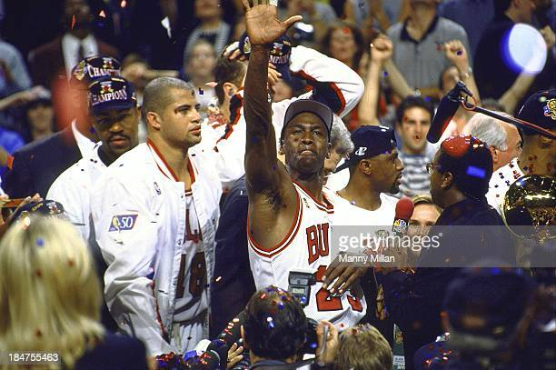 NBA Finals Chicago Bulls Michael Jordan victorious during celebration after winning Game 6 and championship series vs Utah Jazz at United Center...