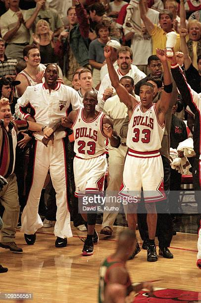 NBA Finals Chicago Bulls Scottie Pippen and Michael Jordan victorious on court after winning Game 6 and championship series vs Seattle SuperSonics at...