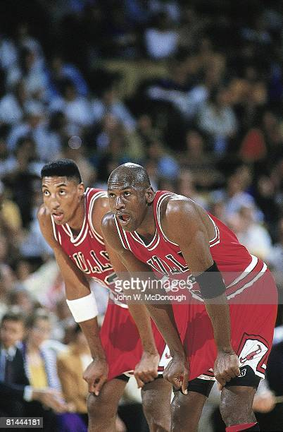 Basketball NBA Finals Chicago Bulls Scottie Pippen and Michael Jordan on court during Game 5 vs Los Angeles Lakers Inglewood CA 6/12/1991