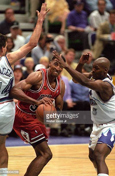 NBA Finals Chicago Bulls Scottie Pippen in action vs Utah Jazz Bryon Russell and Jeff Hornacek at Delta Center Game 6 Salt Lake City UT CREDIT Walter...
