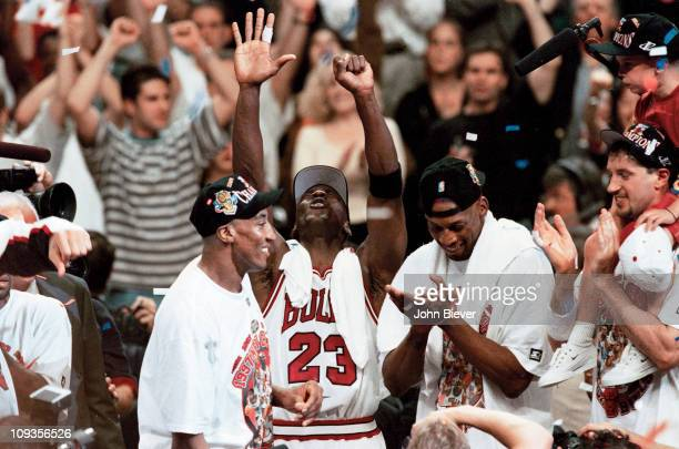 NBA Finals Chicago Bulls Scottie Pippen Michael Jordan and Dennis Rodman victorious during celebration after winning Game 6 and championship series...
