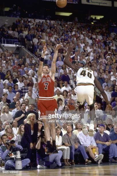 NBA Finals Chicago Bulls Toni Kukoc in action shooting vs Seattle SuperSonics Shawn Kemp at KeyArena Game 5 Seattle WA CREDIT John W McDonough