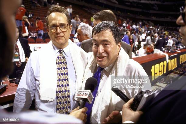 NBA Finals Chicago Bulls Vice President of Basketball Operations and General Manager Jerry Krause and Chairman Jerry Reinsdorf talking with reporter...