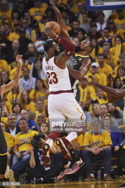 NBA Finals Cleveland Cavaliers LeBron James in action vs Golden State Warriors Kevin Durant at Oracle Arena Game 2 Oakland CA CREDIT John W McDonough