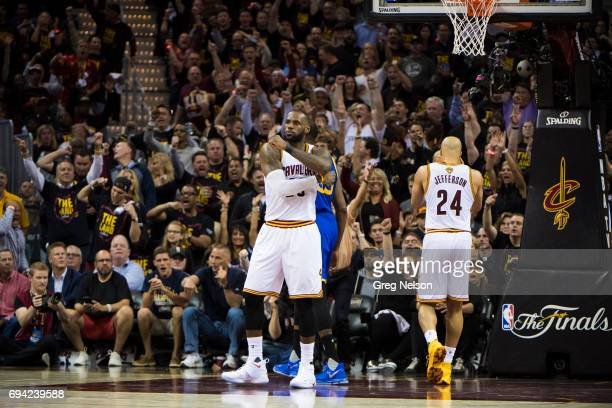 NBA Finals Cleveland Cavaliers LeBron James victorious during game vs Golden State Warriors at Quicken Loans Arena Game 3 Cleveland OH CREDIT Greg...