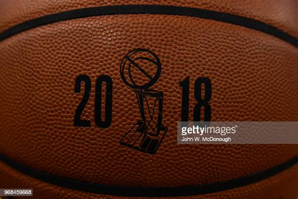 NBA Finals Closeup of basketball with 2018 NBA Championship logo before Golden State Warriors vs Cleveland Cavaliers game at Oracle Arena Game 1...