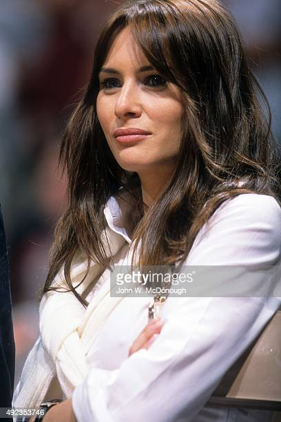 NBA Finals Closeup of Melania Trump wife of businessman and celebrity media personality Donald Trump watching Game 4 between New Jersey Nets and Los...