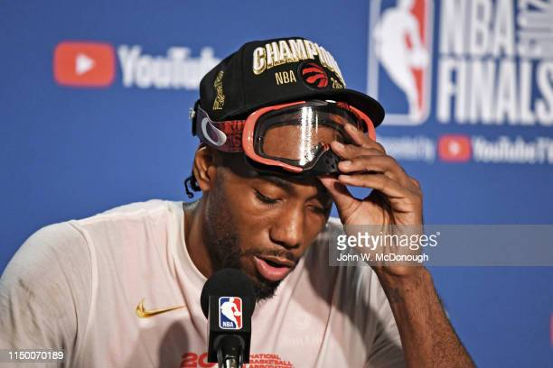 NBA Finals Closeup of Toronto Raptors Kawhi Leonard during press conference after winning game vs Golden State Warriors at Oracle Arena Game 6...