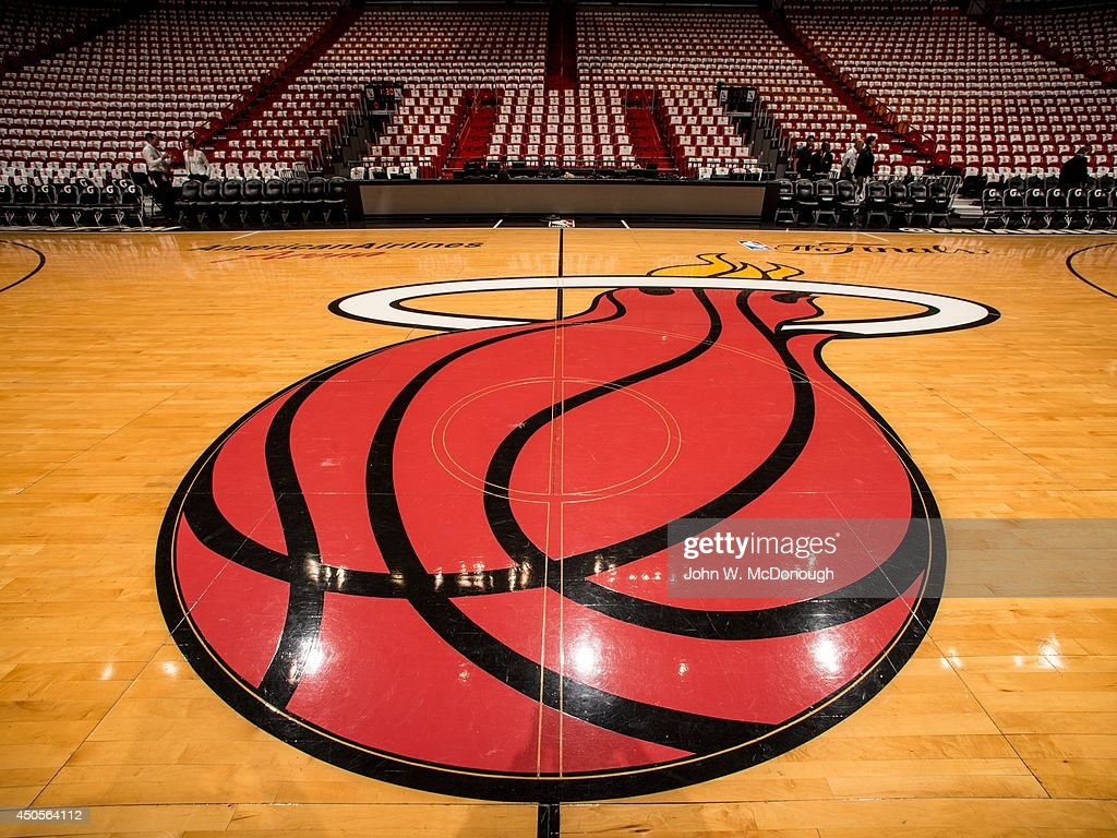 Closeup view of Miami Heat logo on court before game vs ...