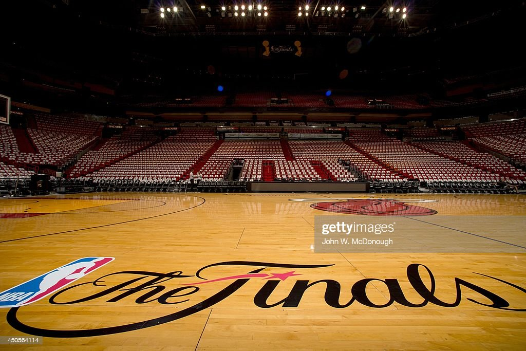 Closeup view of The Finals logo on court before game vs San Antonio... News Photo | Getty Images
