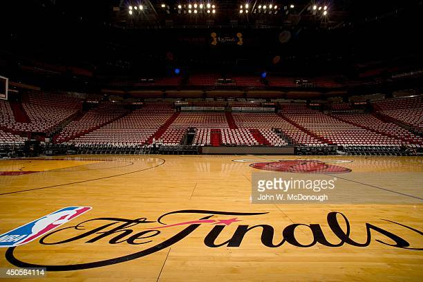NBA Finals Closeup view of The Finals logo on court before game vs San Antonio Spurs at American Airlines Arena Game 4 Miami FL CREDIT John W...