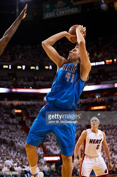 NBA Finals Dallas Mavericks Dirk Nowitzki in action shot vs Miami Heat at American Airlines Arena Game 2 Miami FL CREDIT John W McDonough