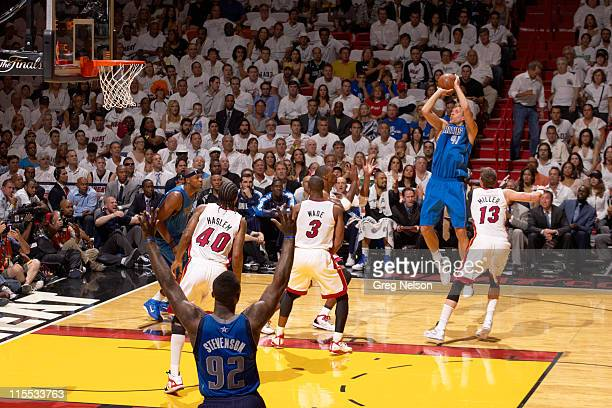 NBA Finals Dallas Mavericks Dirk Nowitzki in action shot vs Miami Heat at American Airlines Arena Game 2 Miami FL CREDIT Greg Nelson