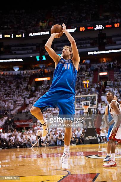 NBA Finals Dallas Mavericks Dirk Nowitzki in action shot vs Miami Heat at American Airlines Arena Game 6 Miami FL CREDIT John W McDonough