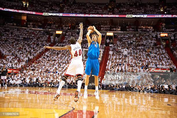 NBA Finals Dallas Mavericks Dirk Nowitzki in action shot vs Miami Heat at American Airlines Arena Game 6 Miami FL CREDIT Greg Nelson