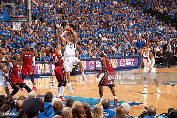 NBA Finals Dallas Mavericks Dirk Nowitzki in action vs Miami Heat at American Airlines Center Game 3 Dallas TX CREDIT John W McDonough
