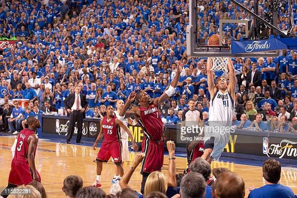 NBA Finals Dallas Mavericks Dirk Nowitzki in action dunking vs Miami Heat at American Airlines Center Game 3 Dallas TX CREDIT Greg Nelson